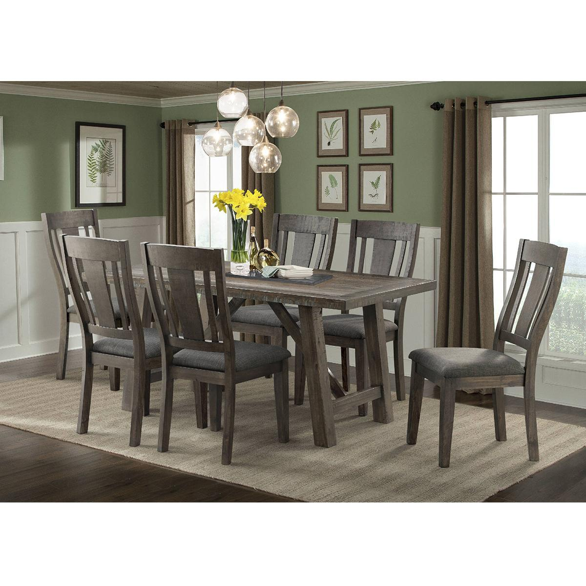 Mayberry Hill Cash 7 Piece Dining Set In Rustic Distressed Espresso Nfm Side Chairs Dining 7 Piece Dining Set Dining Table