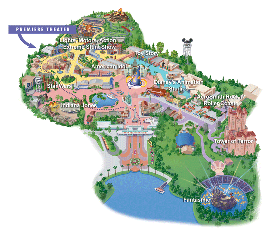 Map of Disney World Hollywood Studios Attractions | DISNEY | Parques ...