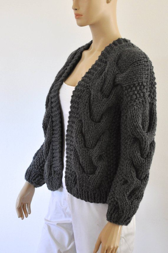 neuartiger Stil günstige Preise Gedanken an Dark Gray Oversized Knit Cardigan Chunky Knit Bomber Jacket ...