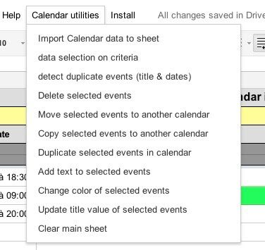 calendar_edit example spreadsheet Google Apps Script