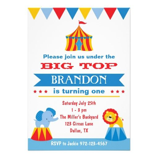 Big Top Circus Invitation Circus invitations, Big top circus and - best of invitation birthday party text