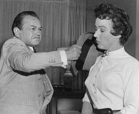 """Edward G. Robinson and Fay Wray on the set of """"Hell On Frisco Bay,"""" (1955)"""
