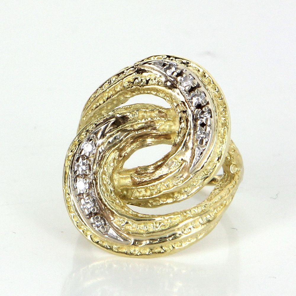 Retro vintage diamond infinity cocktail ring k yellow gold estate