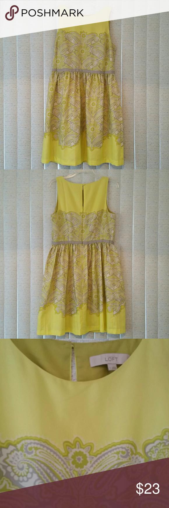 LOFT dress (NWOT) Yellow-Green dress with flower design and built in slip (never worn) (L: 38, Bust: 19) LOFT Dresses