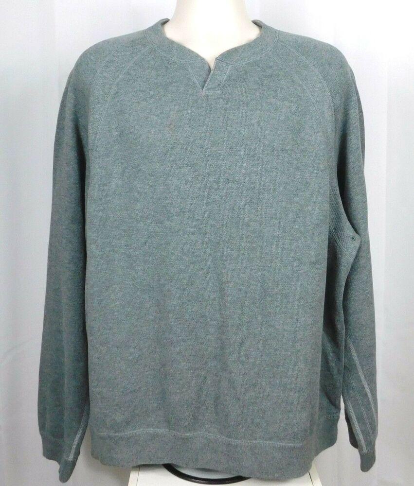 f4f36b135 Tommy Bahama Long Sleeve Pullover Shirt Notched Collar Sweatshirt Gray XL # TommyBahama #Sweatshirt