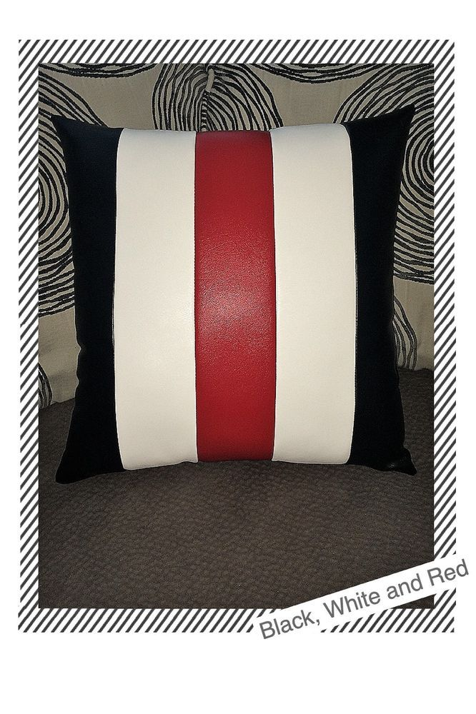 Details About Accent Decorative Leather Pillow Black White Red Stripes Case Cushion Cover Leather Pillow Striped Decor Pillows