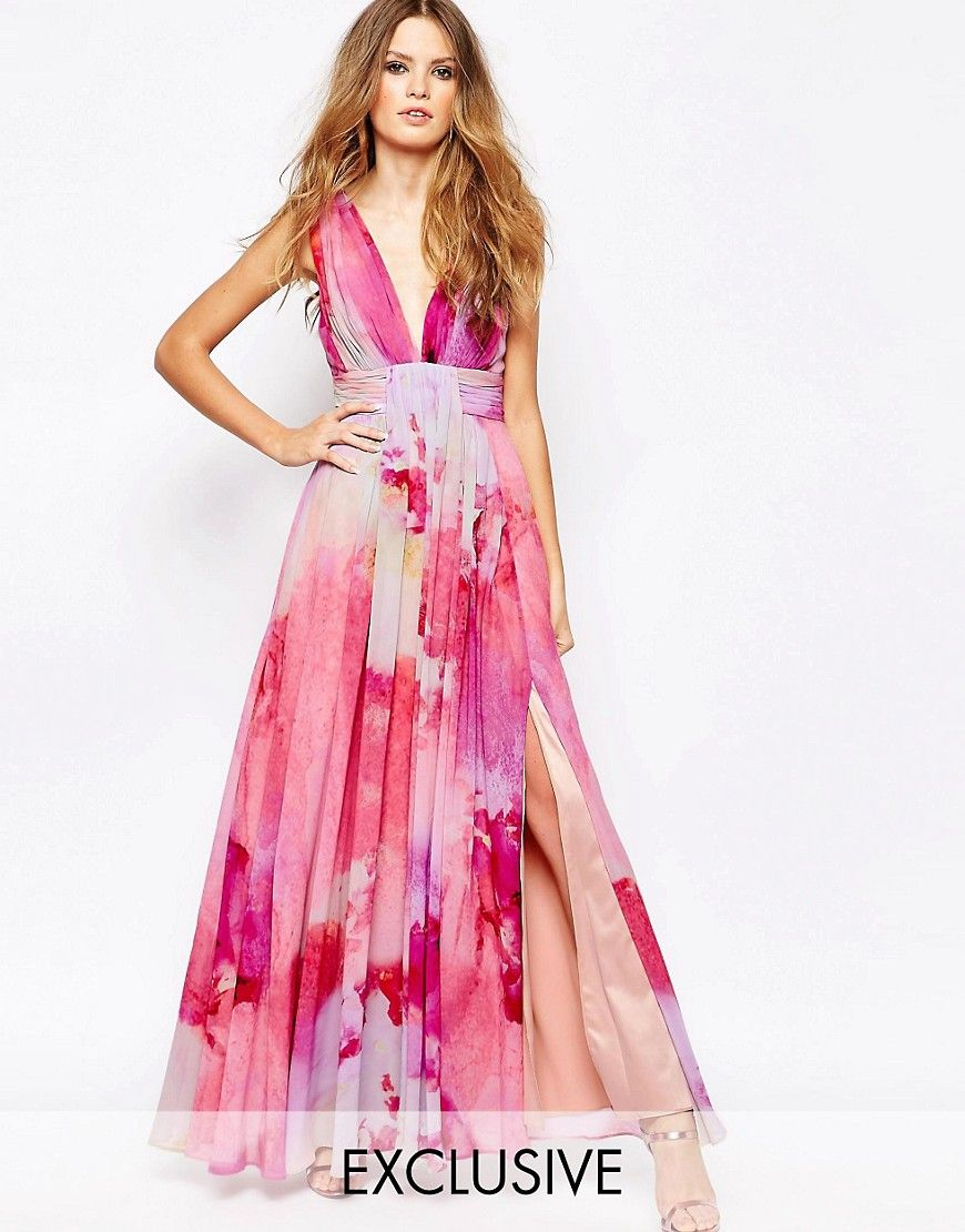 Image 1 of Fame and Partners Valencia Pleated Maxi Dress With Wrap ...