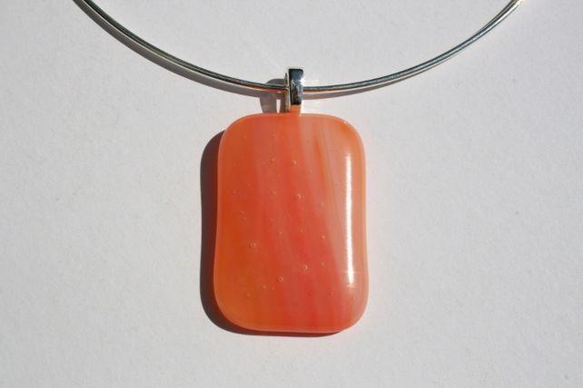 Pale Orange Glass Pendant on Silver Plated Choker £15.50