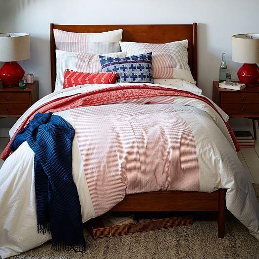 Seersucker Oversized Plaid Duvet Cover + Shams - Red/Ink | west elm
