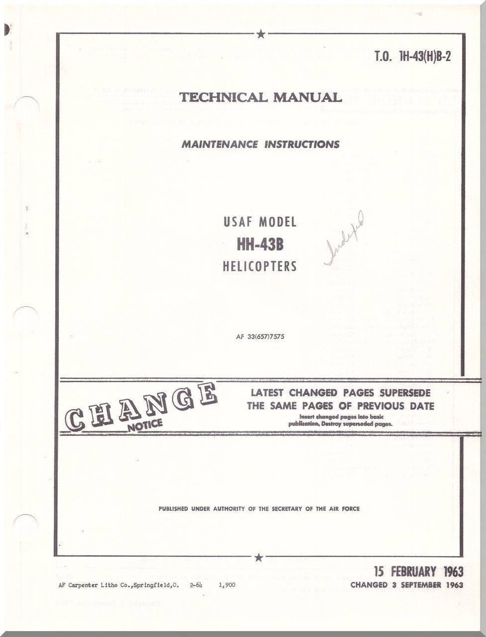 KAMAN HH-43 B Helicopter Maintenance Instructions Manual - T.O. 1H-43(H)B-3  -1963 - Aircraft Reports - Aircraft Manuals - Aircraft Helicopter Engines  ...