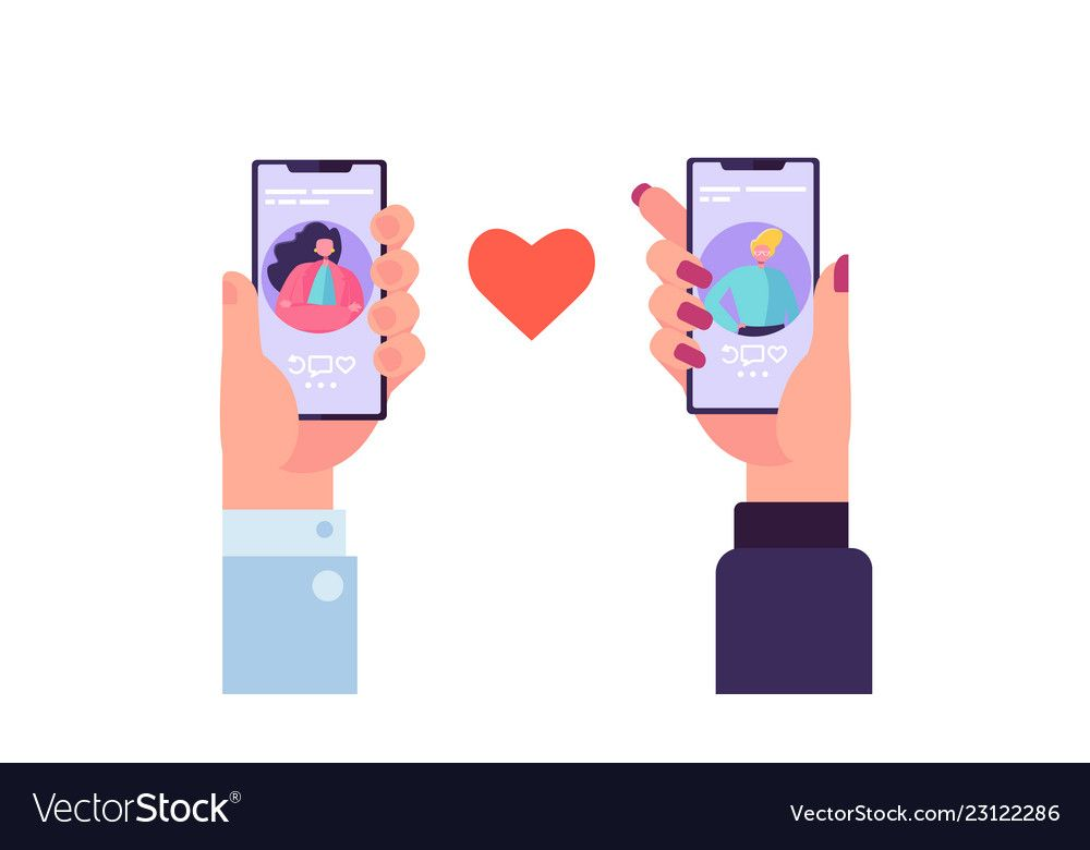 Smartphone dating application to find love vector image on