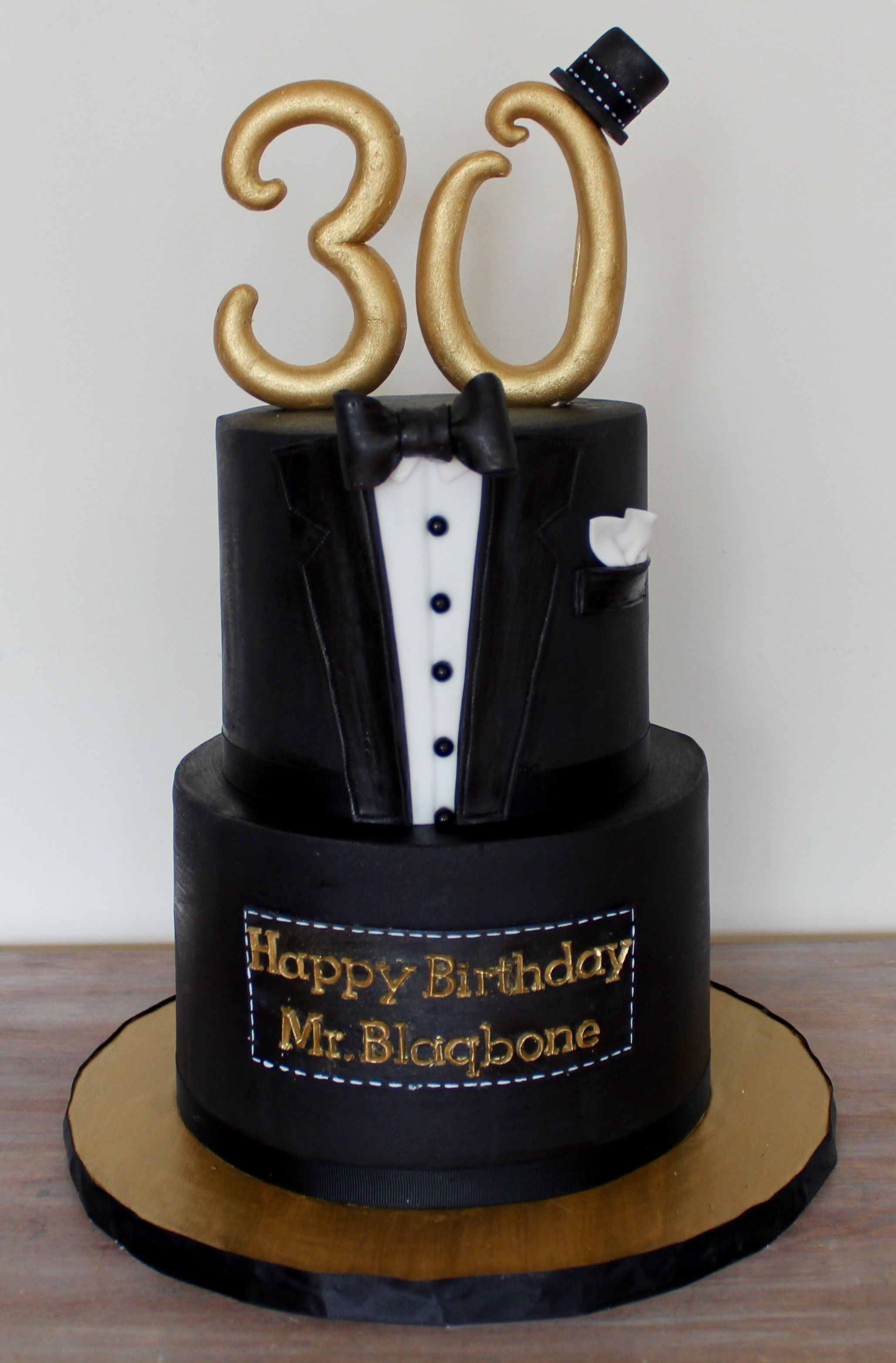 30th Gentlemen Suit Birthday Cake Black Gold Birthday Cakes