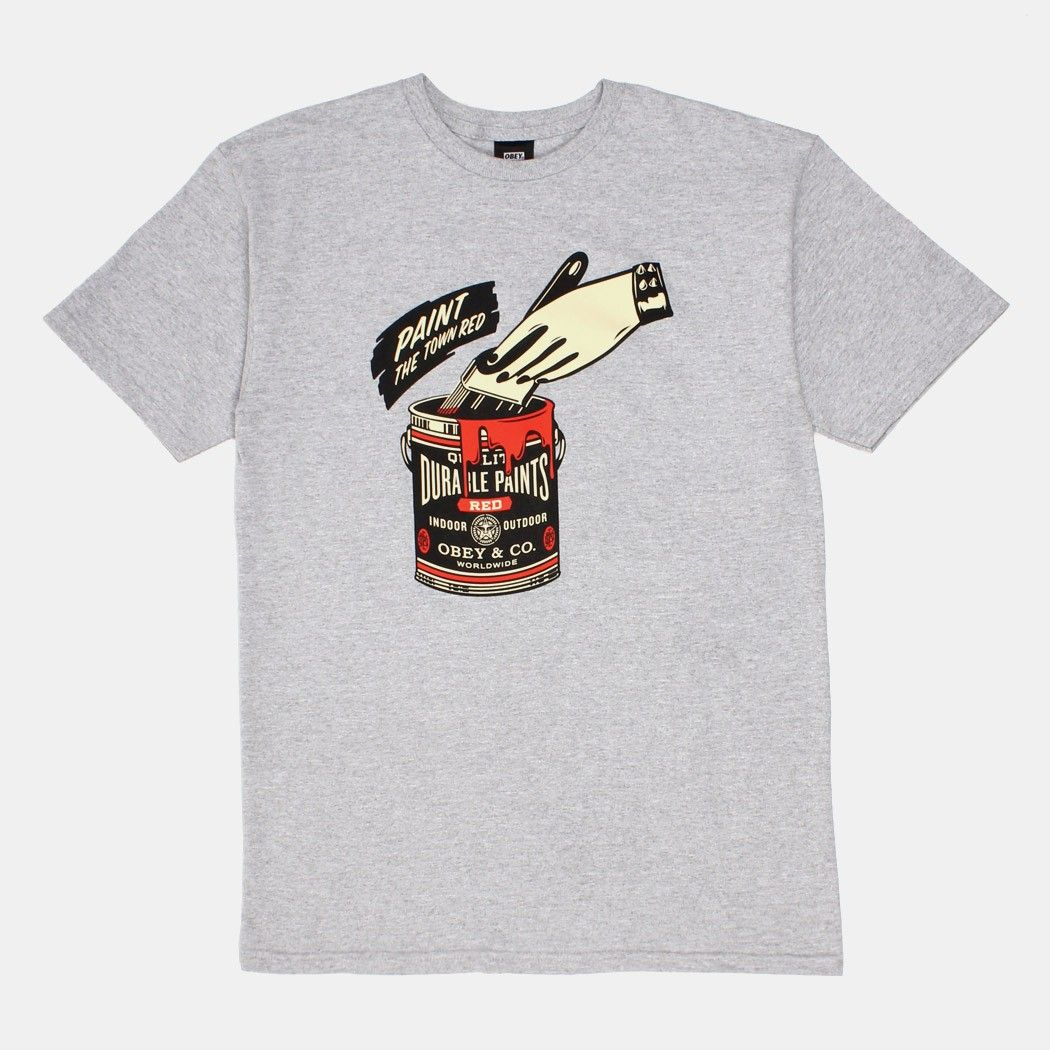 Obey clothing paint the town red tshirt heather grey mens