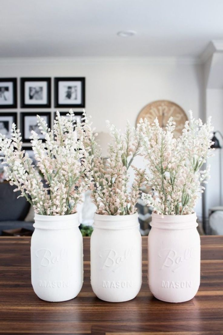 Photo of Ombre Blush Pastel Painted Mason Jar Vases