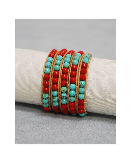 Boho Leather Wrap - Turquoise/Coral