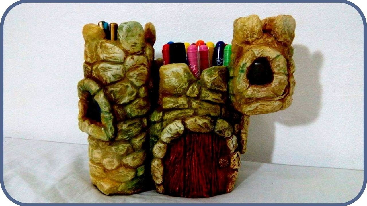 DIY Fairy Castle Desk Organizer Three Jars and Air Dry