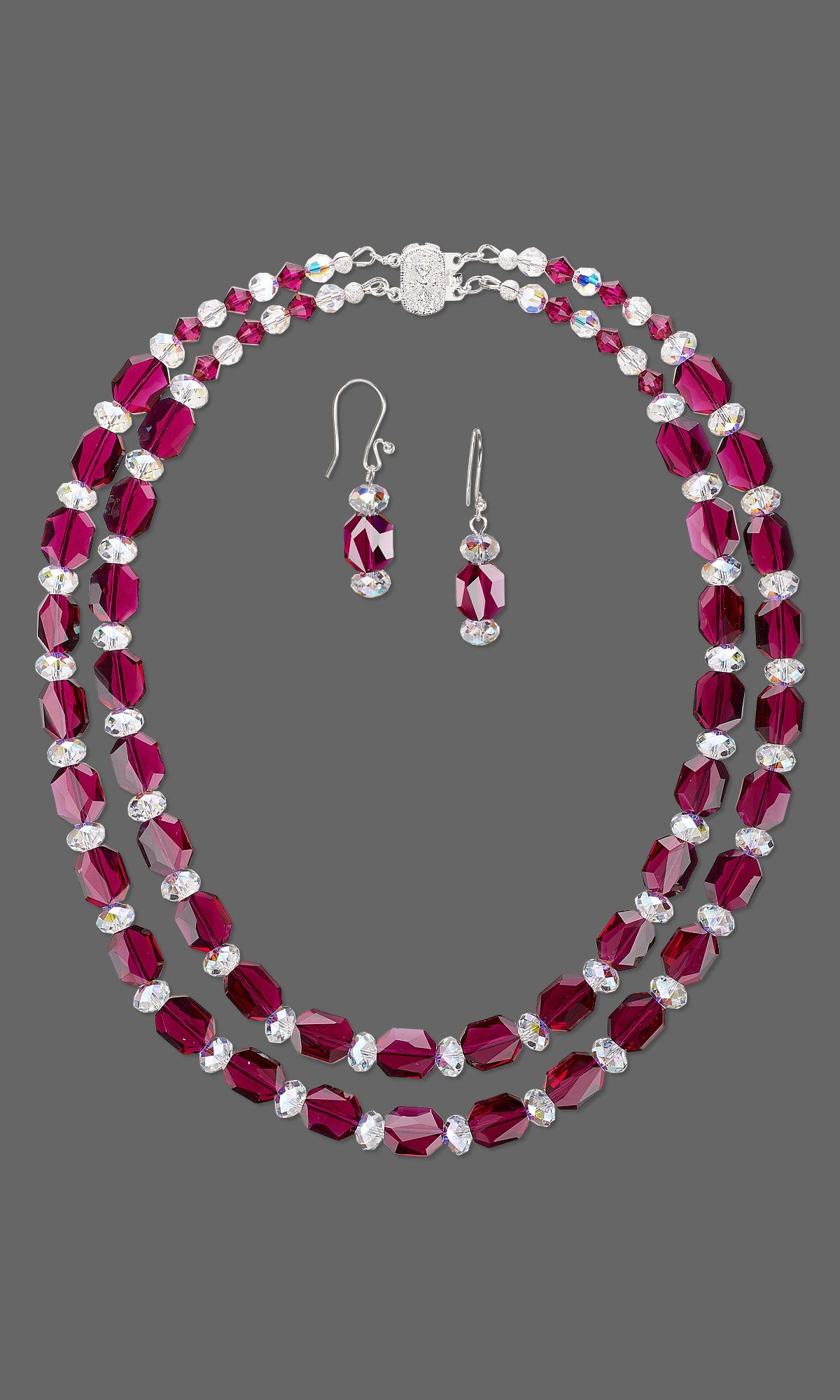 Jewelry Design DoubleStrand Necklace and Earring Set with