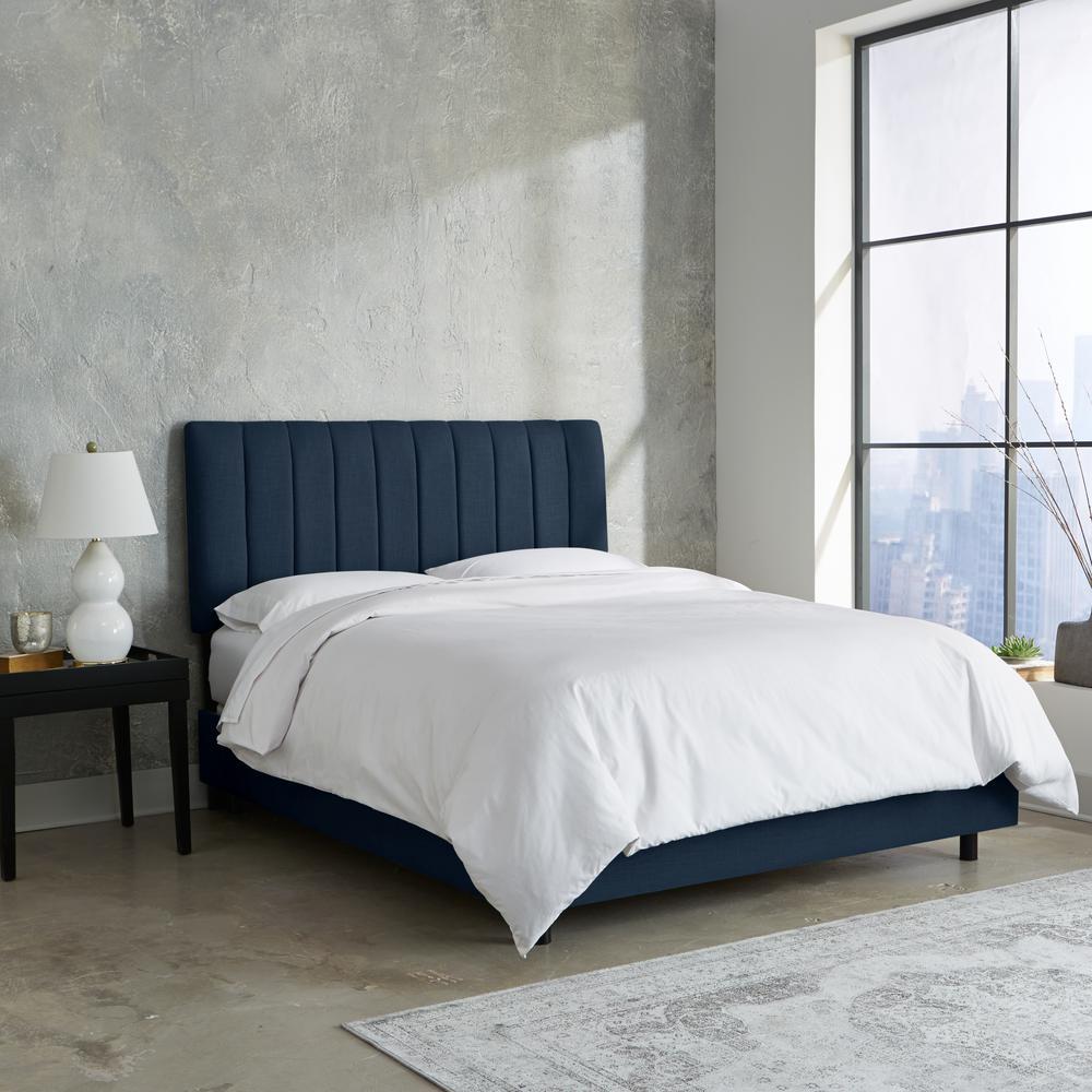 Skyline Furniture Hdc Linen Navy California King Channel Seam Bed
