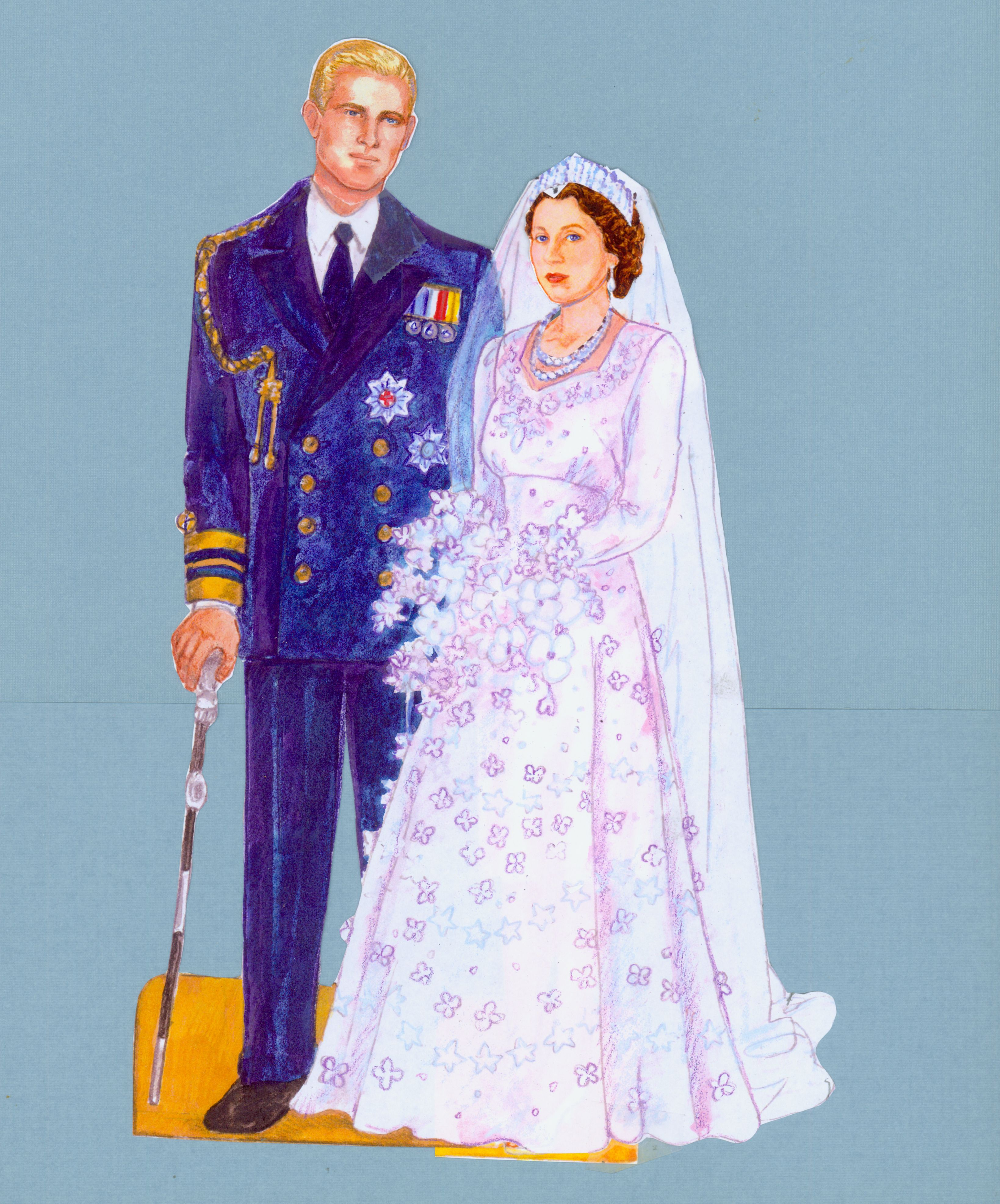 Queen elizabeth green dress  Princess Elizabeth and Prince Philip Wedding from
