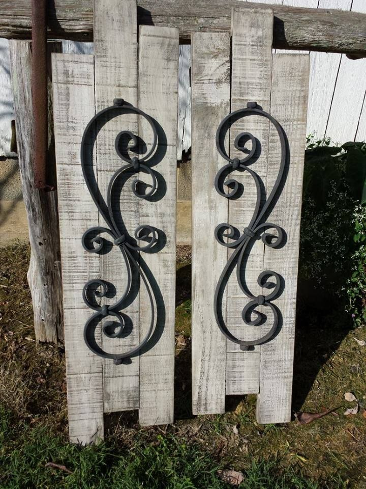 Reclaimed Pallet and Wrought Iron Shutters from Full Circle Designs NC! ~Sold  fullcircledesignsnc.wix.com/fcdnc