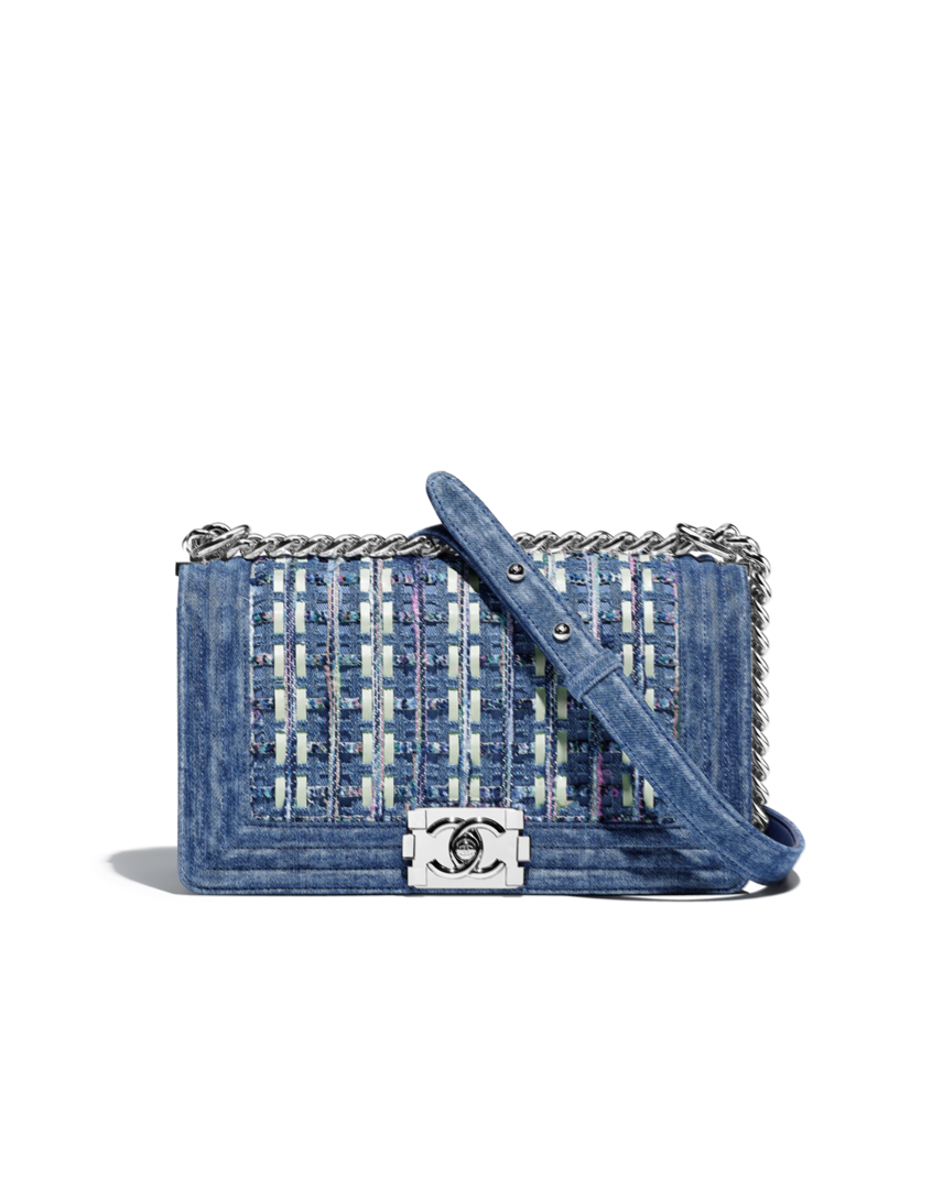 463ce404718a19 BOY CHANEL handbag, cotton tweed, denim, lambskin & silver-tone metal-blue  & green. $5,940 AUD. Dimensions 14.5 x 25 x 8 cm.