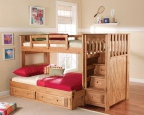 Bunk Beds With Stairs And Storage Under Double Bed Below Loft Beds