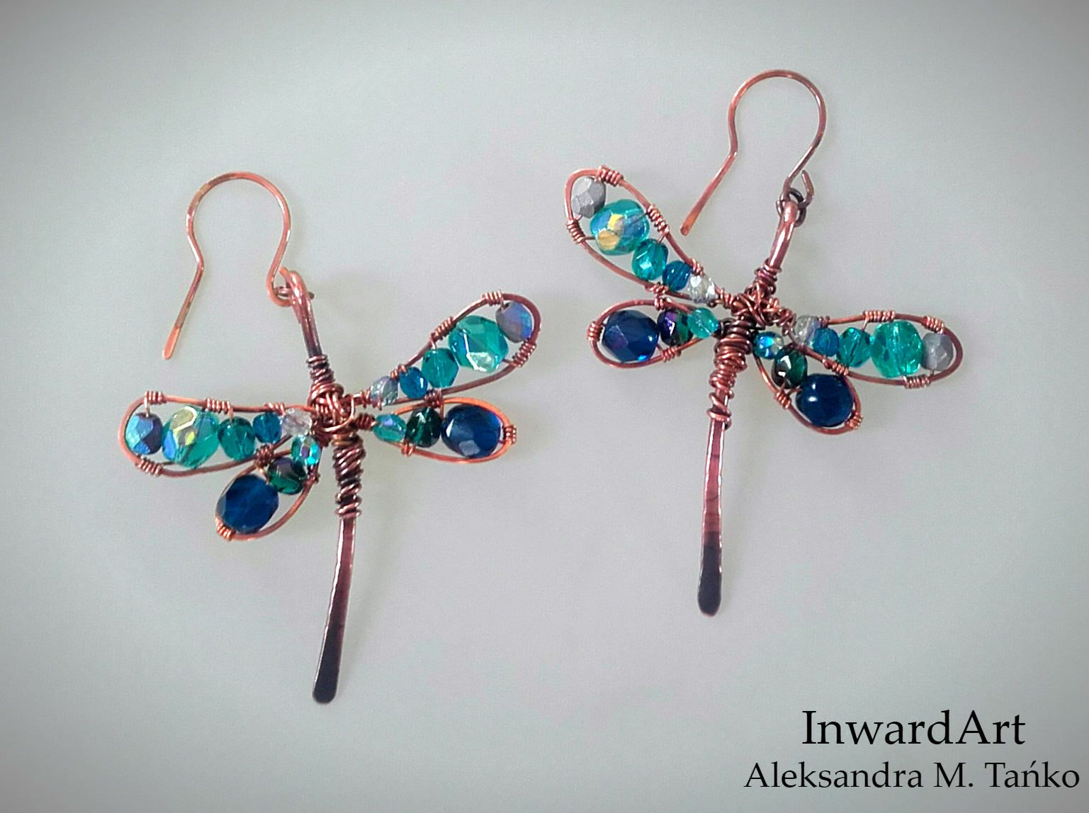 Wire wrapped copper dragonflies earrings with sparkling blue ...