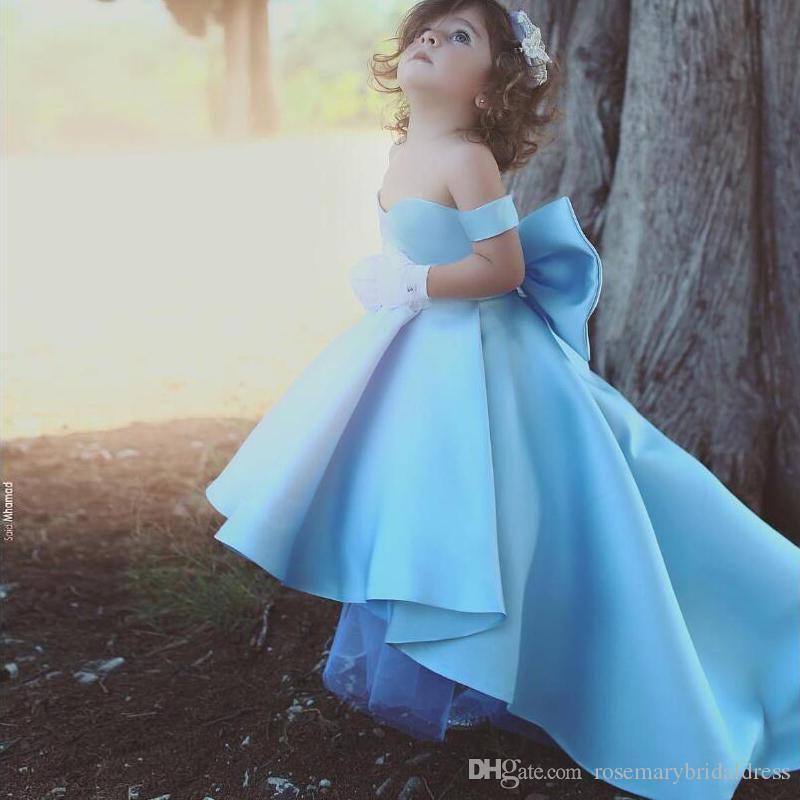 Light Sky Blue Flower Girls\' Dresses Off the shoulder Fancy Cute ...