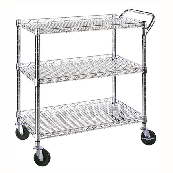 Seville Classics 3 Shelf UltraZinc Commercial Utility Cart  Kitchen Utility Cart