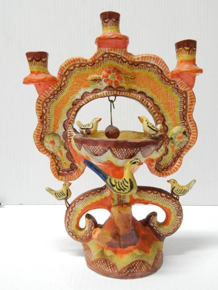 Antique Vintage Pottery Mexican Tree Of Life Candle Holder Mexico Early Example Mexican Art Mexican Folk Art Mexican Crafts