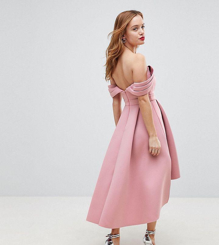ASOS Petite ASOS PETITE Bardot Cold Shoulder Dip Back Midi Prom ...