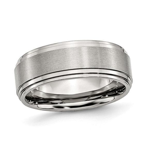 Zales Mens 8.0mm Satin Comfort-Fit Triple Row Wedding Band in Stainless Steel (1 Line) ns203p3