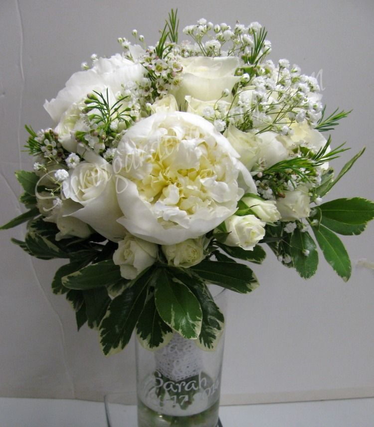 Bride Bouquet ~ White Peonies, White Roses, Whit Spray Roses, Wax ...