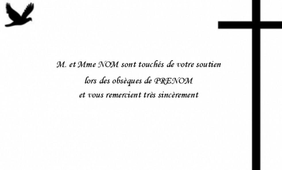 Modele Carte De Remerciement Deces Pas Cher Imprimer Et A