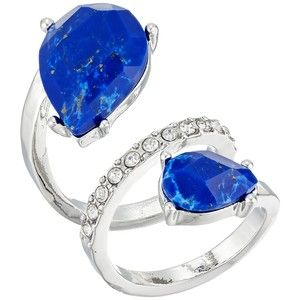 GUESS Double Pear Shape Stone Bypass Ring (Silver/Crystal/Lapis) Ring
