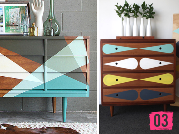 painted furniture blogsPainted Geometric Modern Dresser DIYs  httpbloghgtvcom