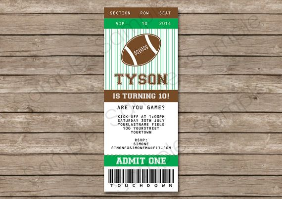 Football Ticket Invitation INSTANT DOWNLOAD by SIMONEmadeit, $995