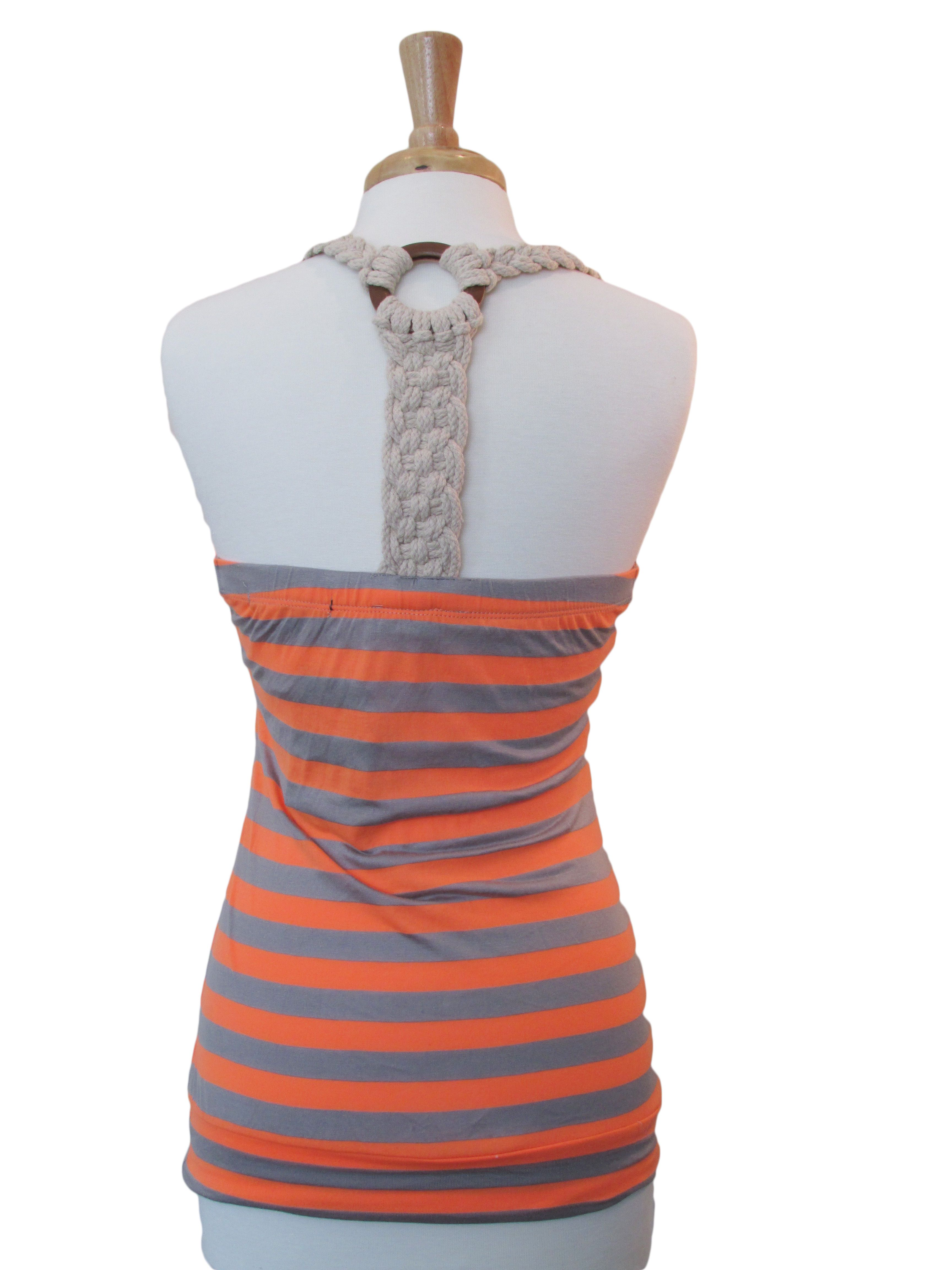 Orange and gray striped tank, with braided rope down the back. It runs a little bit on the small side.