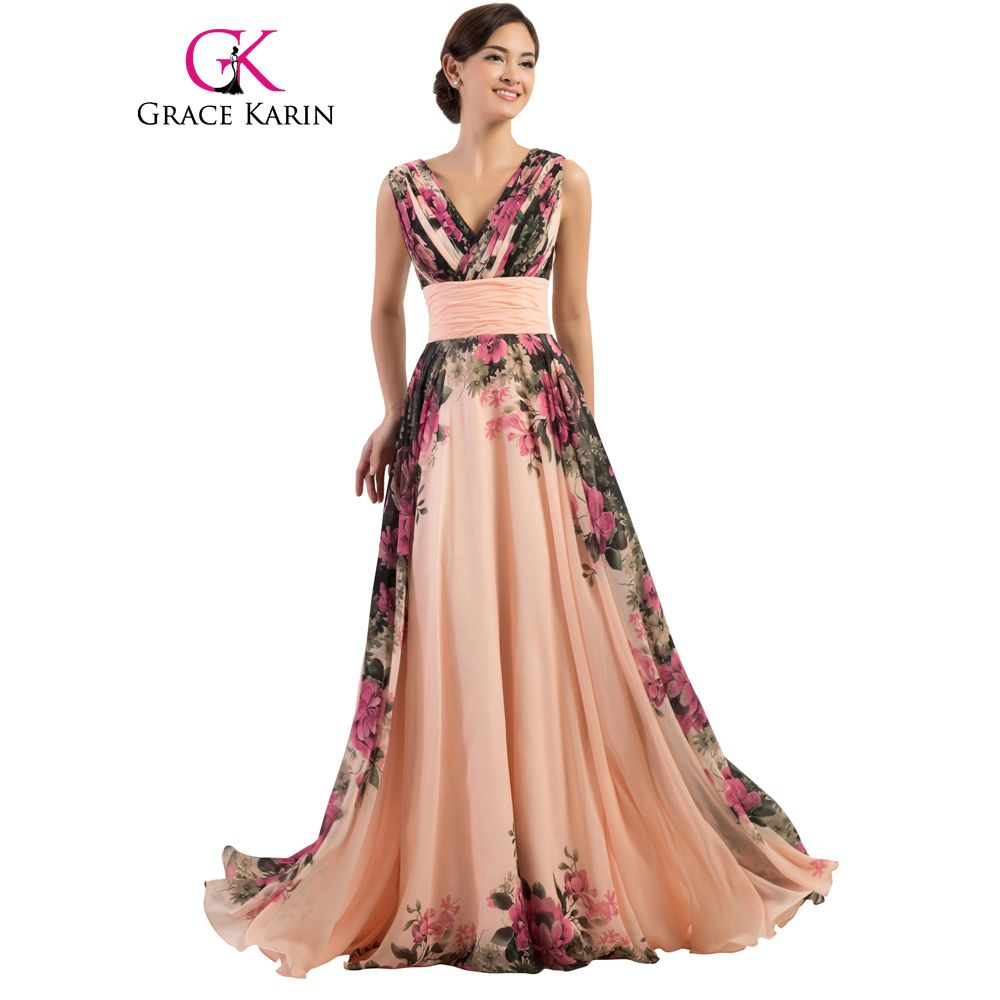 Rahmat Karin Sexy Backless Bunga Gaun Malam Panjang V Dalam leher Floral Formal  Dresses Chiffon Gaun Pesta Jubah De Soiree 2017 57920c862273