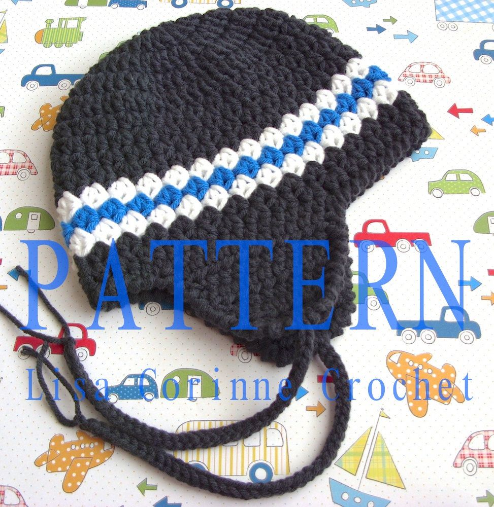 Boy\'s Earflap Hat Easy Crochet Pattern Striped Beanie Cap PDF Infant ...