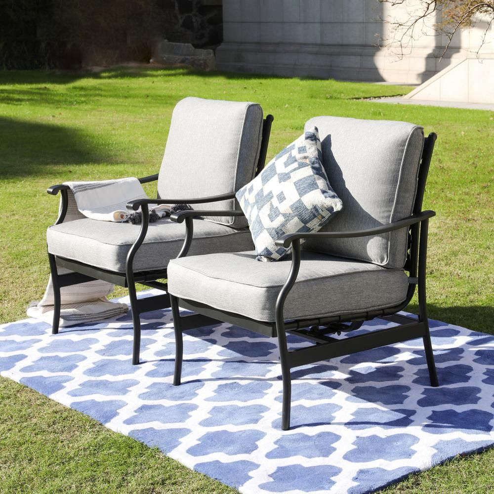Patio Festival Metal Outdoor Rocking Chair With Gray Cushions 2 Pack Pf19104 G The Home Depot Outdoor Rocking Chairs Wrought Iron Patio Furniture Lounge Chair Outdoor