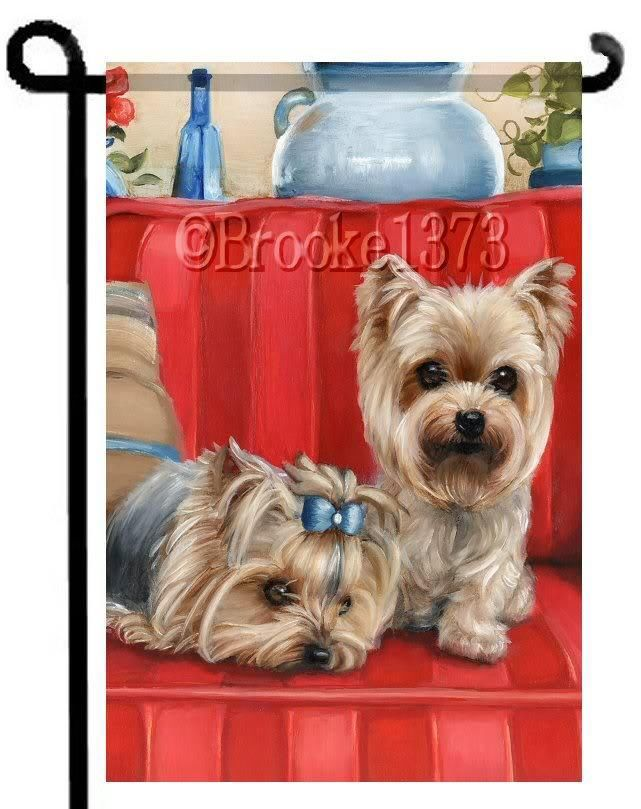 Beau YORKIE Painting GARDEN FLAG Dog ART Yorkshire Terrier By Brooke Faulder
