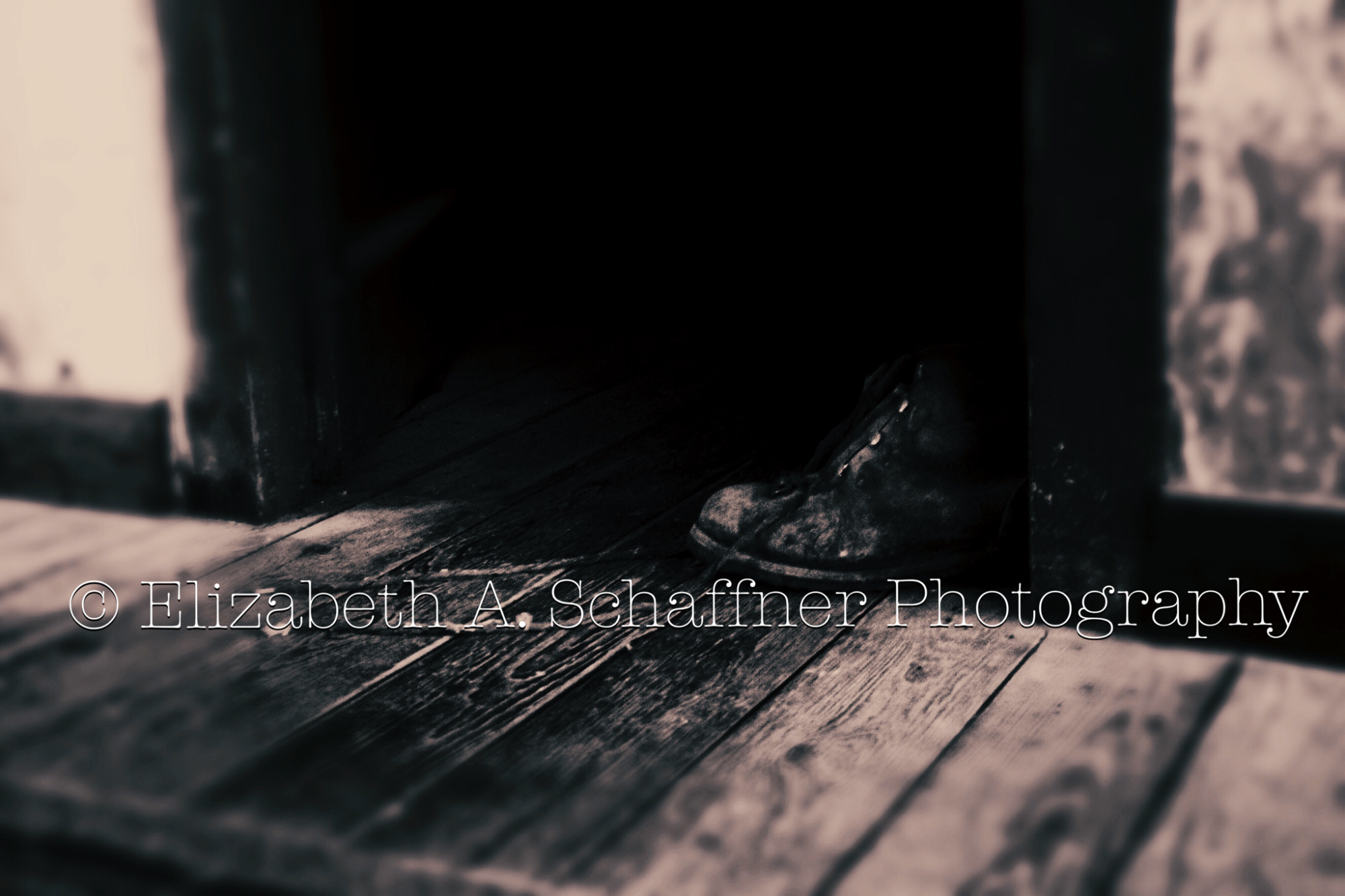 The Boot #5 by Elizabeth A. Schaffner Photography  #Still #Life #Photography #BlackandWhite #Boots #Old #Shoes