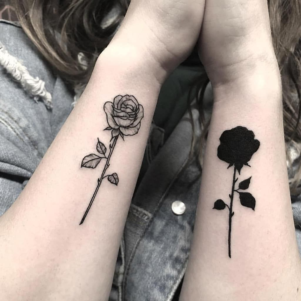 bd361d4fd Matching black and white roses inked on both forearms | < Flower ...