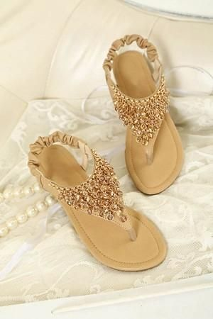 54611b765b98 Apricot Faux Leather Beaded Thong Sandals   Women s Sexy Sandals Shoes