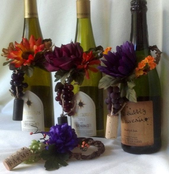 wine centerpieces bridal bottle decor vineyard shower michigan winery autumn toppers decorations table event accessories fall amorebride grapes etsy bottles