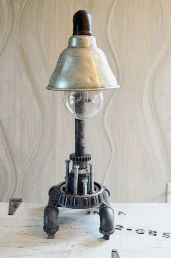 reclaimed industrial lighting. Unique Machine Pipe Lamp: Urban Industrial Rustic Modern Steampunk Reclaimed Light Lighting
