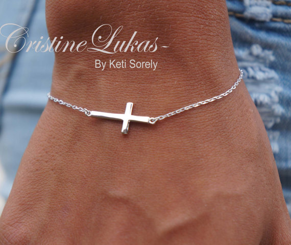 965e626db Celebrity Style Small Sideways Cross Bracelet - Sterling Sliver - Religious  Jewelry