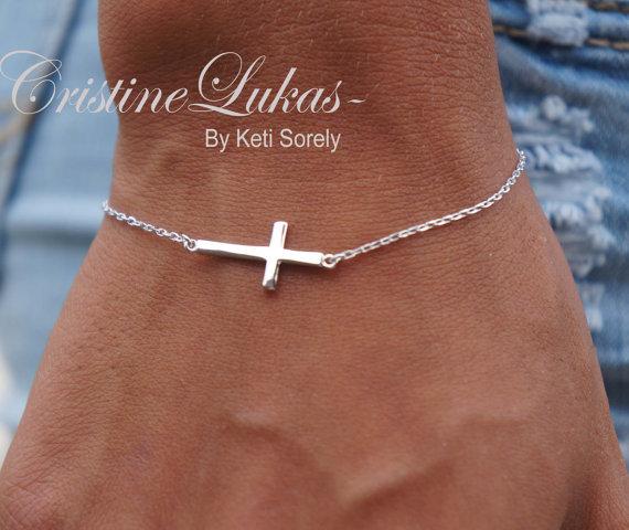 Celebrity Style Small Sideways Cross Bracelet - Sterling Sliver - Religious Jewelry