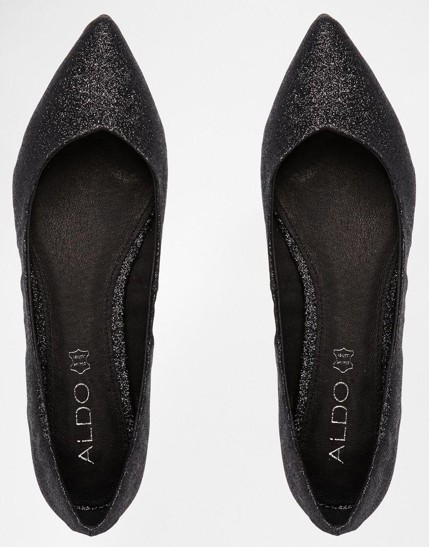 8b4105ece95 ALDO Waelle Black Glitter Ballerina Flat Shoes